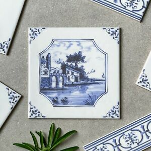 English delftware Castle - blue and white Traditional delft tile 5220/3F