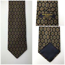 Mens Brooks Brothers Makers Navy Blue Geometric Neck Tie 100% Silk L 58 W 3 3/4