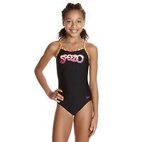 SPEEDO GIRLS SWIMSUIT.NEW COMET POP BLACK THINSTRAP SWIMMING COSTUME 7W 9533B756