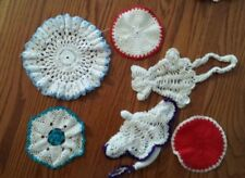 6 Assorted Vintage Hand-Made Crochet Doilies for Crafts Cutter #2 red blue white