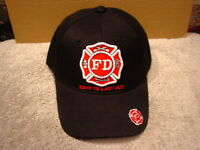 FIRE DEPARTMENT FIRST IN LAST OUT BASEBALL CAP HAT #3 ( BLACK )