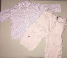 USED GYMBOREE12-18 MO LOT OUTFIT KHAKI PANTS LONG SLEEVE BUTTON UP SHIRT