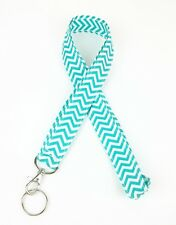 Chevron Neck Lanyard Color Aqua & White with Key ring for ID Badge holder