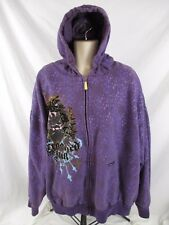 Crooked Ink Mens Hoodie Jacket Purple Sz 4XL Embellished Zip Front Lined BB177