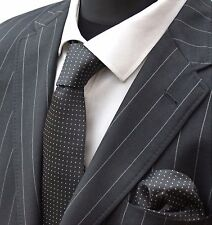Tie Neck tie with Handkerchief Black with White Pin Spot