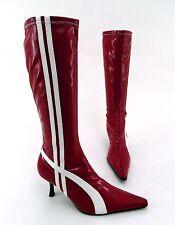 Stiefel Stretch Schlupf Stiletto Kunstleder Lackleder rot weiß Gr. 38