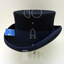 VINTAGE Wool Felt Topper Top Hat Short Tuxedo Men Victorian | 57cm | Navy | NEW