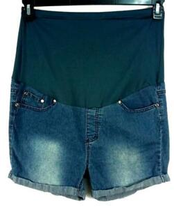 Times two black denim spandex stretch belly support maternity shorts 1X