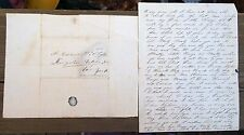 RARE 1840s PARTIAL LETTER FROM SUSAN BASTEN TO DAUGHTER HANNAH B SLOAT STYLES