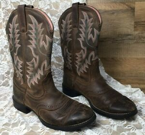 Ariat Women's Heritage Stockman Saddle Vamp Cowgirl Boots Size 7B - Brown & Pink