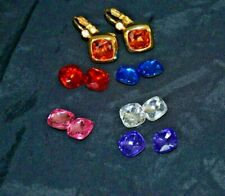 Joan Rivers gold tone interchangeable inserts faceted lucite pierced earrings