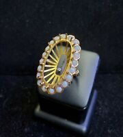 14K Yellow Gold Large Vintage Oval Mounting Opal Ring Estate Fine Jewelry 17x30