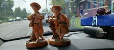 Borghese Vintage Pair of 2 Chalkware Figurines Italy Victorian Man Woman