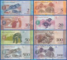 VENEZUELA Set 8 Banknoten 2 bis 1000 Bolivares 2007-2017 UNC