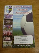 16/05/2010 Football Programme: Surrey County Girls Cup Finals - U10, U11, U12, U