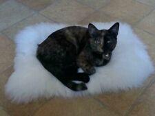 Ivory Sheepskin Pet Bed Fur Chair Motorcycle Seat Cover Dog Cat Mat UK Stock