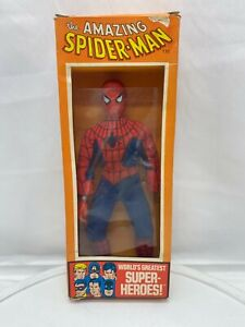 Vintage 8in 1972 Mego Spiderman Action Figure with box please read