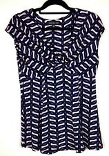 Jones New York Womens Sleeveless Stretchy Top Crossover Size 12 Black Patterned