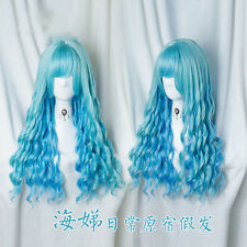 Japanese Harajuku Sweet Lolita Blue Gradient Long Curly Cosplay Cute Fairy Wig