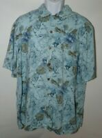Island Shores Men XL Hawaiian Shirt Blue Casual Palm Trees Map Tropical Vacation