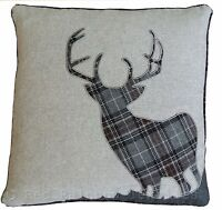 Tartan Stag 18 Inch Grey & Black Cushion Cover Soft Woven Check Fabric