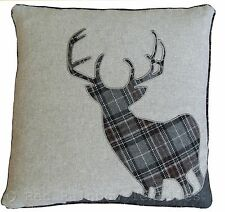 Tartan Stag LARGE 22 Inch Grey & Black Cushion Cover Soft Woven Check Fabric