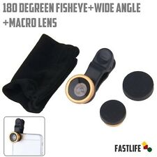 180° Universal 3 in1 Fish Eye Macro Wide Angle Clip cam Lens For iPhone/Samsung