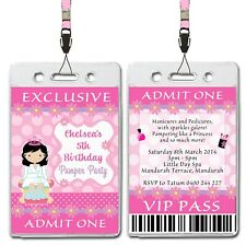 Pamper Spa Party VIP Lanyard Birthday Invitations x 10