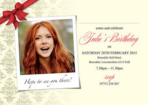 PERSONALISED BIRTHDAY PARTY INVITES Bow Corner With Your Own Picture Invitations