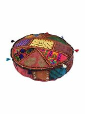 """Indian Handmade Floor Round Home Decor Vintage Patchwork Cushion  Pooffee 22"""""""