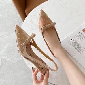 Women Pointy Toe Kitten Heels Bowknot Polka Dot Slingbacks Sandals Slip On Party