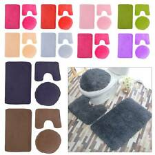 3 Teilig Badgarnitur Badezimmer Matte Set Dusch Bade Matte Vorleger Teppich WC