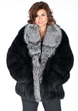 Womens Real Fox Fur Jacket Black With Natural Silver Fox Trim Shawl Collar - 29