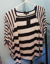 Liz Jordan drape top - black/white stripes - Size L - NWT