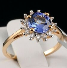 Genuine AAA Graded Tanzanite Solitaire w/Zircon Halo 10k Solid Gold Ring, Size 6
