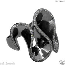 Natural Diamond Pave Antique Style Fashion Wave Ring Sterling Silver Jewelry Py