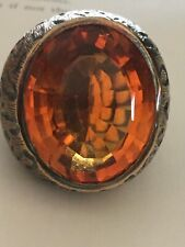 Stunning Statement Huge Orange Topaz 19k gold cocktail Ring