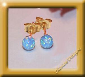 Massiv 18 Kt Gold 750 Ohrstecker Ohrringe mit 5mm Blau Opal Gelbgold