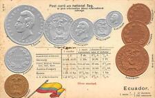 ECUADOR COINS FLAG & RATE TABLE EMBOSSED PATRIOTIC POSTCARD (c. 1910)