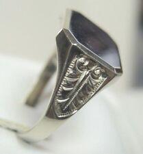 Antique Art Deco Vintage 14K White Gold Signet Ring Unisex Finger Size 9 UK-R1/2