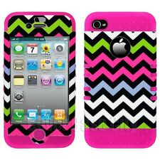 KoolKase Hybrid Hard Cover for Apple iPhone 4 4S Case Pink Black Chevron Stripes