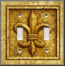 Metal Light Switch Plate Cover French Fleur De Lis Decor Aged Stone Gold Yellow