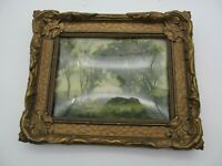 Antique Gold FANCY Frame W/ Convex Glass W/ Old Masters Print for 6 x 8