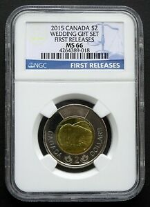 2015 Canada $2 Wedding Gift Set, First Releases, NGC MS66