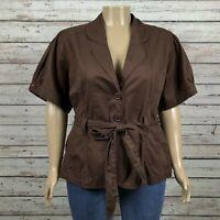 NEW Cato Belted Casual Blazer Jacket 26W 28W Dark Brown Short Sleeve Cotton