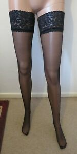 Extra Large Black Shine Lace Top Hold Ups by Silky. New/Free Postage