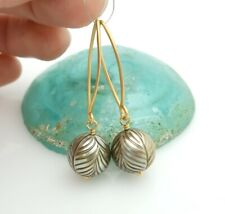 GORGEOUS AAA TAHITIAN HAND CARVED 11mm+ CHAMPAGNE SILVER CULTURED PEARL EARRINGS