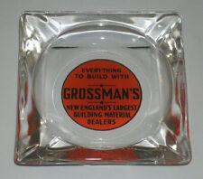 GROSSMAN'S GLASS ASHTRAY! VINTAGE BUILDING MATERIALS HARDWARE ADVERTISING!