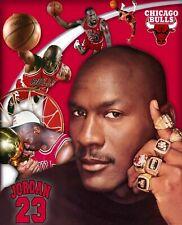 MICHAEL JORDAN 8X10 PHOTO CHICAGO BULLS  BASKETBALL NBA COLLAGE WITH RINGS