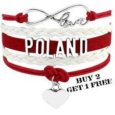 Poland Unisex Leather Bracelet Jewellery Polish Flag Football Sport